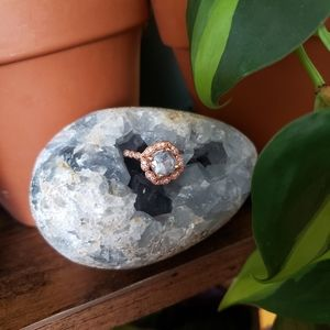 SIZE 6 Aquamarine Rose Gold Sterling Silver Ring